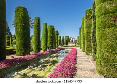 Cordoba, Spain - June 19, 2018: Gardens at the Alcazar de los Reyes Cristianos in Cordoba, Spain