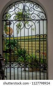 Cordoba, Spain - June 20, 2017: Inside view of the patio of a guest house in Cordoba, Spain, Europe, Andalucia