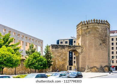 Cordoba, Spain - June 20, 2017:The ancient gate to enter the city of Cordoba, Spain, Europe on a summer day with blue sky, Andalucia