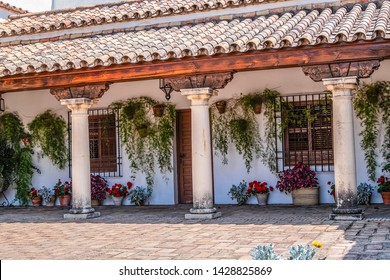 CORDOBA, SPAIN - JUNE 3, 2017: Cordoba Viana Palace built in XV century. Viana Palace is tourist attraction known for 12 magnificent patios and a garden. Courtyard of the Columns.
