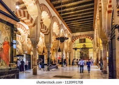 CORDOBA, SPAIN - JUNE 3, 2018: Interior of Mosque-Cathedral of Cordoba (Mezquita-Catedral de Cordoba), also known as the Great Mosque of Cordoba or Mezquita, monuments of Moorish architecture.