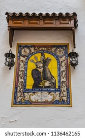 """CORDOBA, SPAIN - JUNE 3, 2018: Famous Taberna San Miguel """"Casa el Pisto"""" in Plaza de San Miguel in Cordobas old town. San Miguel Tavern is one of the oldest taverns in town. Andalucia, Spain, Europe."""