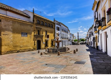 CORDOBA, SPAIN - JUNE 3, 2018: Cordoba Square of Colt (Plaza del Potro). Plaza del Potro is named after fountain in plaza (1577), which features a small, prancing horse balanced atop a vase.