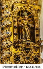 CORDOBA, SPAIN - JUNE 3, 2018: Interior of Saint Michael church (Parroquia San Miguel, 1761) at Plaza de San Miguel. Saint Michael church is one of so-called Fernandina churches located in Cordoba.