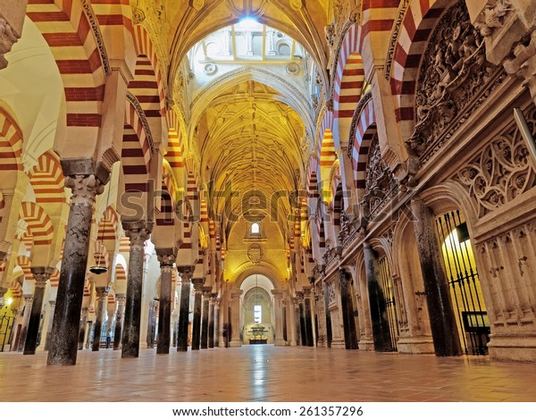 CORDOBA, SPAIN - MARCH 02: The Great Mosque or Mezquita cathedral interior on March 02, 2015 in Cordoba. Mezquita is a very popular tourist destination in Spain.