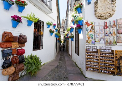 CORDOBA, SPAIN, March 15, 2017:  Flowers in flowerpot on the white walls on famous Flower street in old Jewish quarter of Cordoba, Andalusia, Spain