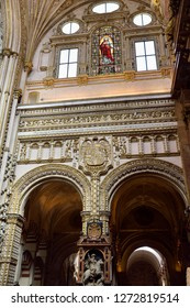 Cordoba, Spain - May 2, 2015: Statue of Saint James the Moor Slayer under the risen Christ in the Cordoba Cathedral Mosque