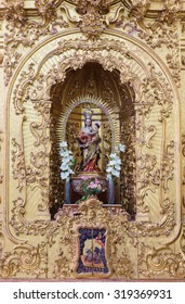 CORDOBA, SPAIN - MAY 26, 2015: The carved polychrome statue of Madonna from 17. cent. in church of monastery Convento Santa Marta.