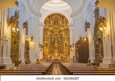 CORDOBA, SPAIN - MAY 27, 2015: The nave of baroque church Iglesia de San Juan y Todos los Santos.