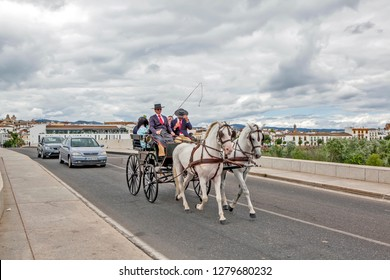 CORDOBA, SPAIN - MAY 29, 2013: Photo of coachman in traditional costumes at the cart, drawn by a pair of horses