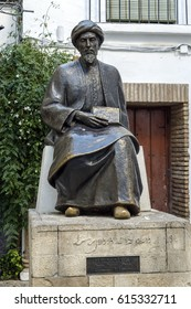 Cordoba, Spain - November 25, 2013: Statue of Ben Maimonides. Medical, Jewish rabbi and theologian Al-Andalus in the Middle Ages. Was important philosopher in medieval thought.
