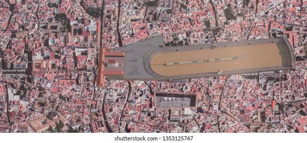 Cordoba, Spain - Oct 16th, 2017: Roman Circus building of Corduba city, Recreational draw, Spain