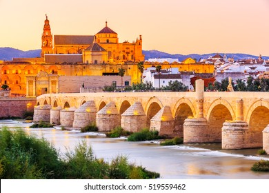 Cordoba, Spain. Roman Bridge and Mezquita (mosque-cathedral) on the Guadalquivir River.