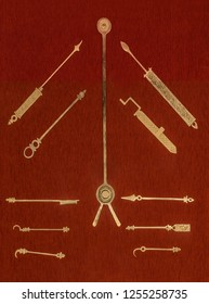 Cordoba, Spain - Sept 8th, 2018: Surgical instruments created by Al-Zahrawi. Calahorra Tower Museum, Cordoba, Spain.  He is considered as the greatest surgeon of the Middle ages,
