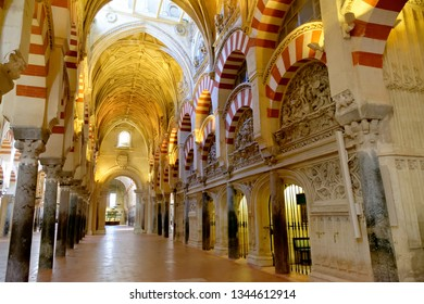 CORDOBA, SPAIN - SEPTEMBER 1, 17: The interior of Mezquita - the Great Mosque of Cordoba, Cathedral of Our Lady of the Assumption.