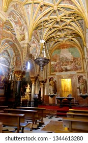CORDOBA, SPAIN - SEPTEMBER 1, 17: Chapel of Sagrario with wall paintings and ribbed vault in Mezquita - the Great Mosque of Cordoba, Cathedral of Our Lady of the Assumption.