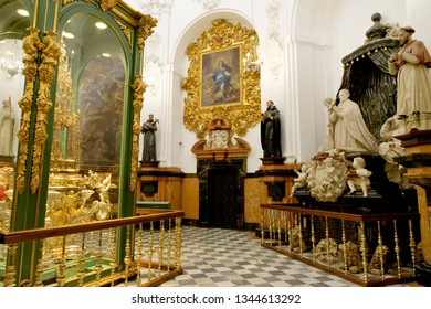 "CORDOBA, SPAIN - SEPTEMBER 1, 17: Chapel of Saint Theresa and Treasury in Mezquita - the Great Mosque of Cordoba. In the center is the ""Monstrance"" - piece of jewellery made by German goldsmith."
