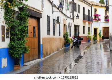 Cordoba,Spain - April 8,2019:A beautiful exterior street view of the local resident area in Cordoba.