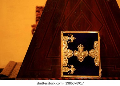 Cordoba,Spain-April 8,2019: A beautiful holy bible book place on the altar inside Cathedral of Córdoba also known as the Great Mosque of Córdoba.