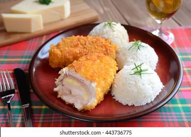 Cordon bleu with rice