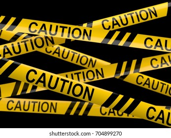 Cordon tape with caution text isolated on white background. 3d illustration