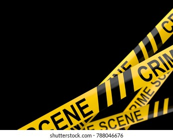 Cordon tape with crime scene text isolated on white background. 3d illustration