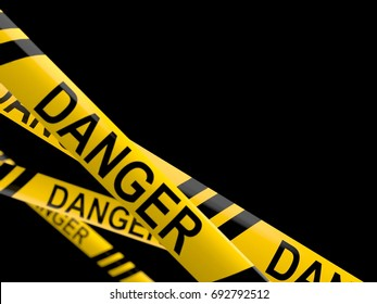 Cordon tape with danger text isolated on white background. 3d illustration