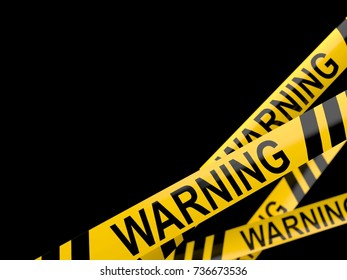 Cordon tape with warning text isolated on white background. 3d illustration