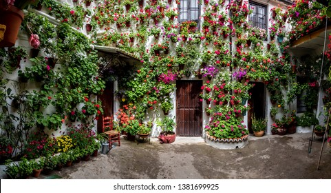 Cordovan traditional inner courtyardCordoba, SpainApril, 24, 2019