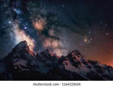The core of the Milky Way rising up over the Grand Teton Range in Wyoming