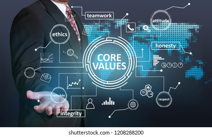 Core Values, business ethics motivational inspirational quotes, words typography concept, Businessman and virtual screen