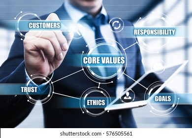 Core Values Responsibility Ethics Goals Company concept