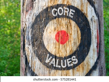Core Values - tree with target and text in the forest
