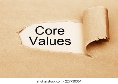 Core Values written behind torn paper