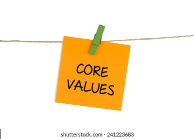 """Core Values"" Written on Sticky Note"