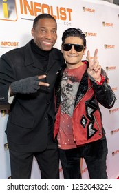 Corey Feldman, Kivon Lindley attend INFOList.com Red Carpet Re-Launch Party & Holiday Extravaganza! at SKYBAR at the Mondrian Hotel, Los Angeles, California on December 5th, 2018