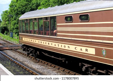 Corfe, England - June 03 2018: The Pullman Observation Car waiting in Corfe Castle Station on the Swanage Steam Railway in Dorset