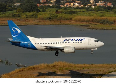 CORFU - AUGUST 27, 2007: Adria Airways B737 landing in Corfu air