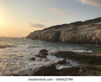 Corfu Cliff and Bay with rumbling waves