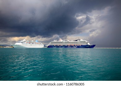 Corfu, Greece, 09.05.2014. Luxury Cruise Ship in Port on the island of Corfu