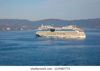 Corfu, Greece - 16.10.2018: AIDA blu is cruise ship, operated by the German cruise line, AIDA Cruises in the sea port of Kerkira, the capital of Corfu in Greece