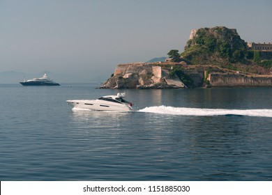 Corfu, Greece, 2 July 2018. The Old Fortress in Corfu town with the sea in the front, Greece