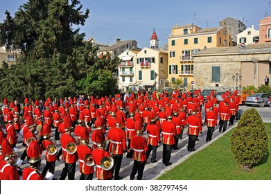 CORFU, GREECE - APRIL 18, 2009: Philharmonic musicians in the customary lament procession on the morning of Holy Saturday, at the old town of Corfu.