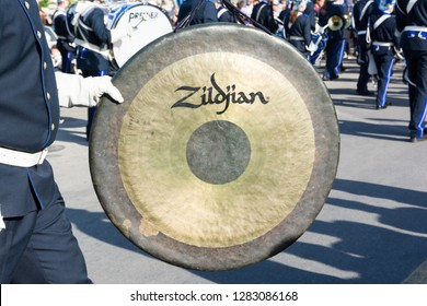 CORFU, GREECE - APRIL 7, 2018: Philharmonic musicians playing in Corfu Easter holiday celebrations. Corfu has a great tradition in music, with 18 philharmonic bands.