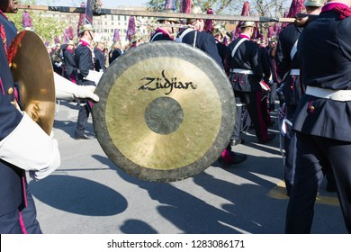 CORFU, GREECE - APRIL 7, 2018: Philharmonic musicians playing in Corfu Easter holiday celebrations. Corfu has a great tradition in music, with 15 philharmonic bands.