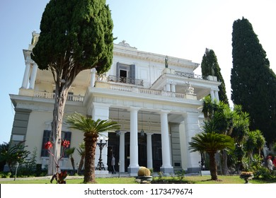 CORFU, GREECE - AUGUST 11, 2018: Achilleion is a palace built in Gastouri on the Island of Corfu by Empress of Austria, Elisabeth of Bavaria, also known as Sisi.