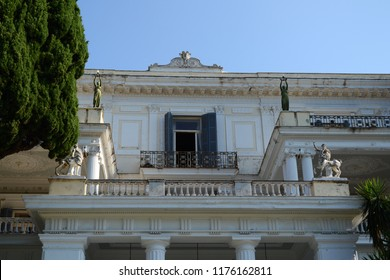 CORFU, GREECE - AUGUST 11, 2018: The facade of the Achilleion Palace,  built in Gastouri, Corfu by Empress of Austria Elisabeth of Bavaria, also known as Sisi.