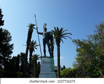 CORFU, GREECE - AUGUST 11, 2018: Achilles statue in Sisis Palace garden
