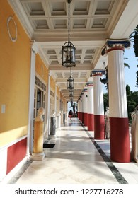 CORFU, GREECE - AUGUST 11, 2018: columns at the Sissi Palace