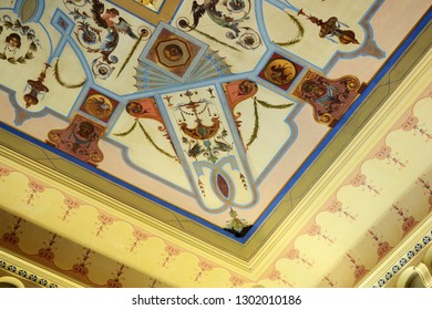 CORFU, GREECE - AUGUST 11, 2018: Interior details of the Sissi Palace on the main hall.